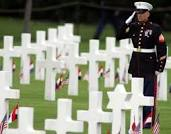 Marine Saluting at Cemetery